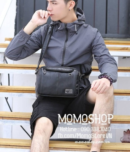 Túi đeo chéo da nam thời trang bn191 đen