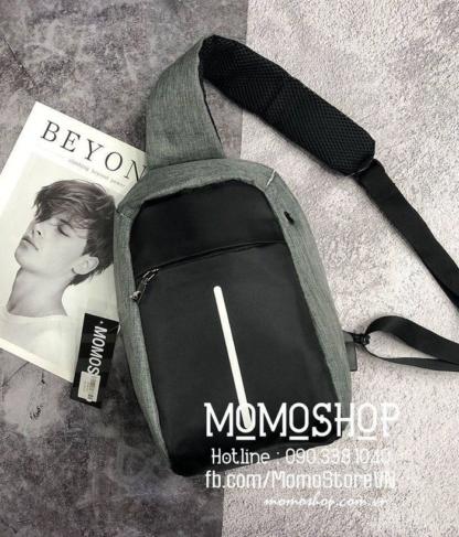 Túi đeo chéo cổng USB thời trang bn398ghi