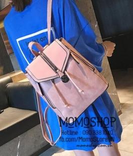 Balo mini túi xách 2in1 thời trang màu hồng kiểu dáng Hàn Quốc, siêu bền