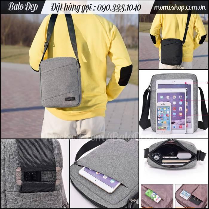 Túi đeo chéo đựng ipad thời trang màu đen giá rẻ, chất vải siêu bền đẹp