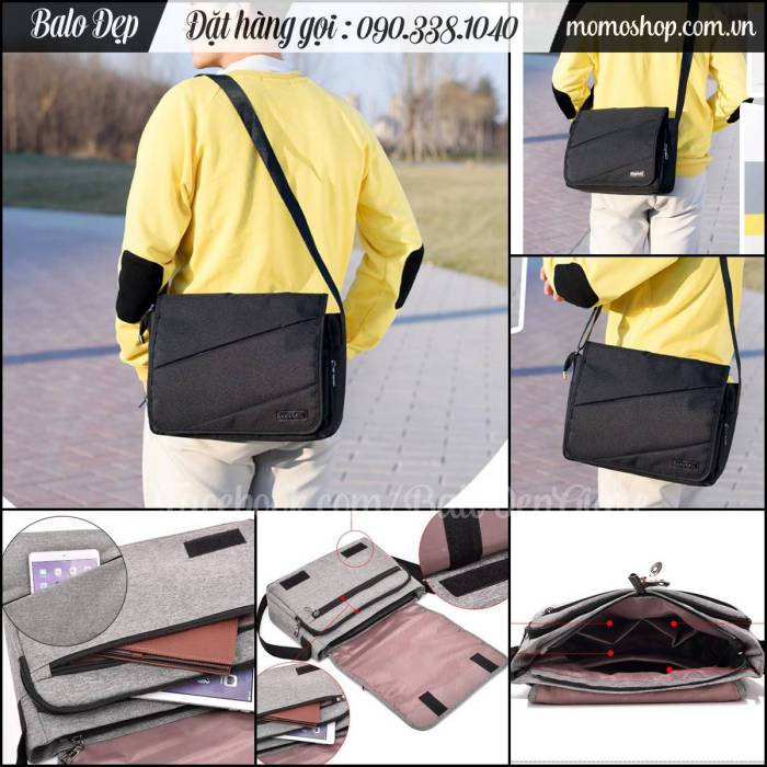 Túi xách đeo chéo laptop 12 inch màu đen thiết kế đẹp, sang trọng