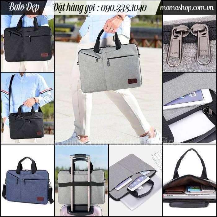 Túi xách laptop vải 14 inch màu ghi thời trang, chất vải đẹp, bền, giá rẻ