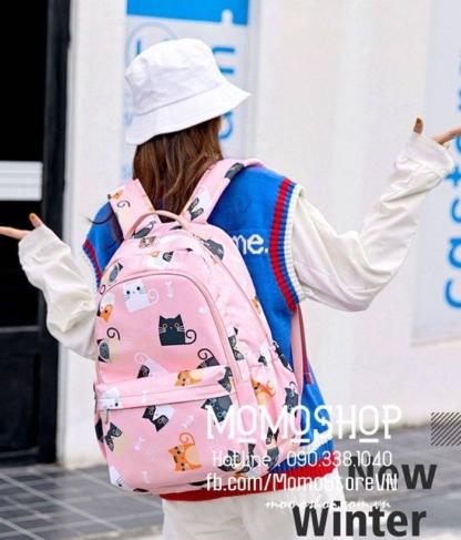 Balo nữ đi học chống nước bl507hong