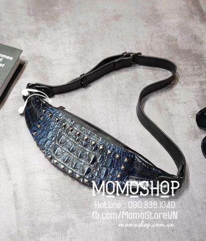 Túi bao tử vân da cá sấu cao cấp bn683 đen