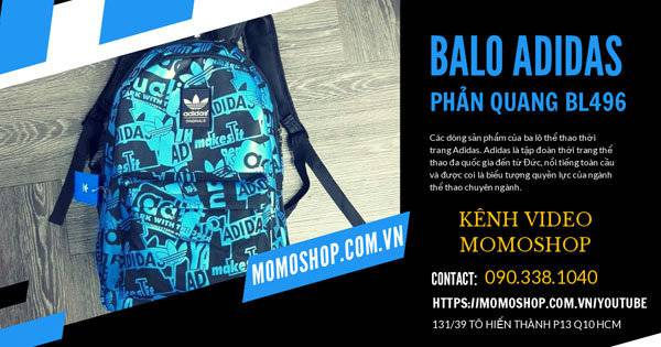 Review Video cầm trực tiếp Balo Adidas Phản Quang Thời Trang xanh dương cực đẹp | BL496 Xanh Dương | Kênh Video Momoshop