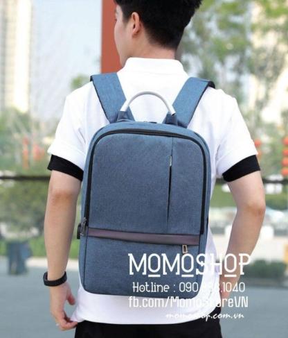 Balo nam vải canvas thời trang bl533 xanhduong