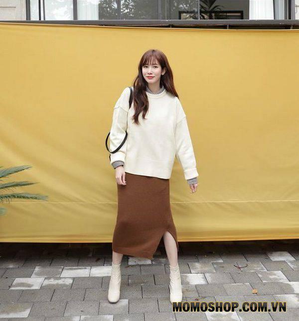 Mix Chiếc váy len mùa Đông + áo len dài tay