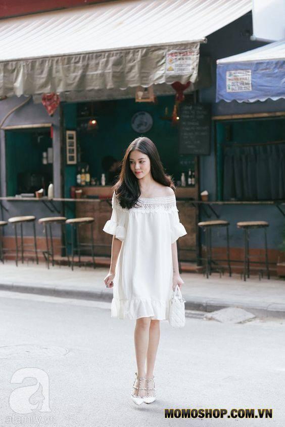 Mix Váy trắng tay xòe sang trọng + túi xách xinh