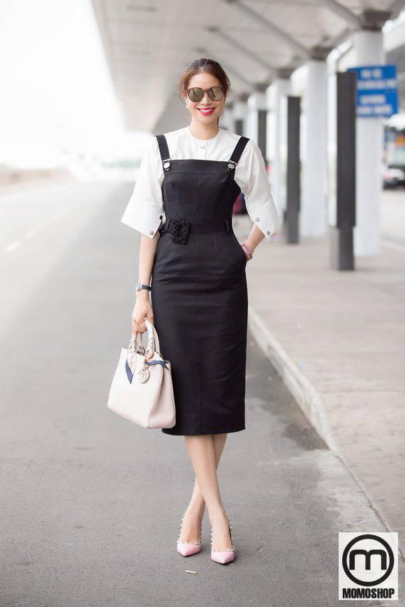Váy yếm đen cho các bạn nữ công sở