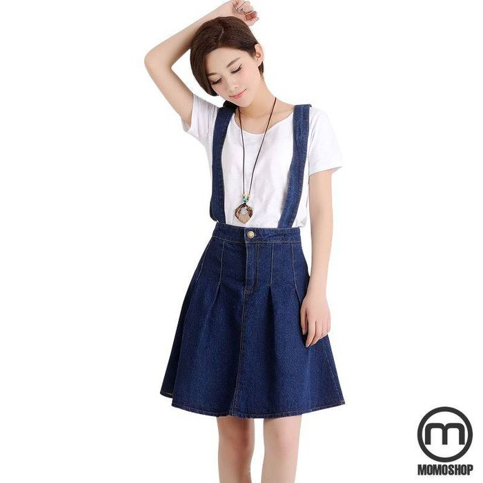 Váy yếm Jean xòe váy dễ thương của nữ