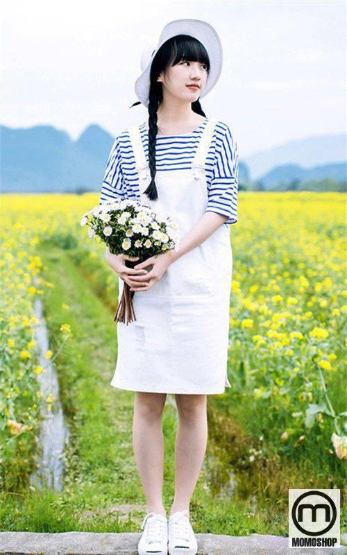 Váy yếm kaki màu trắng dễ thương
