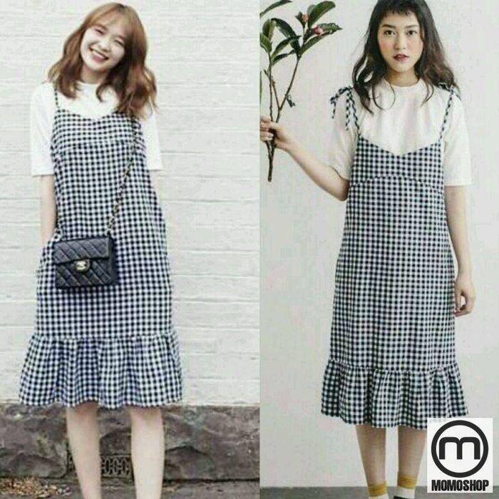 Váy yếm sọc carô Hàn Quốc