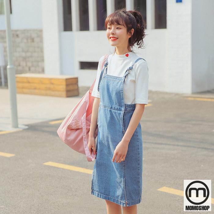 Váy yếm Jean Hàn Quốc có 2 dây