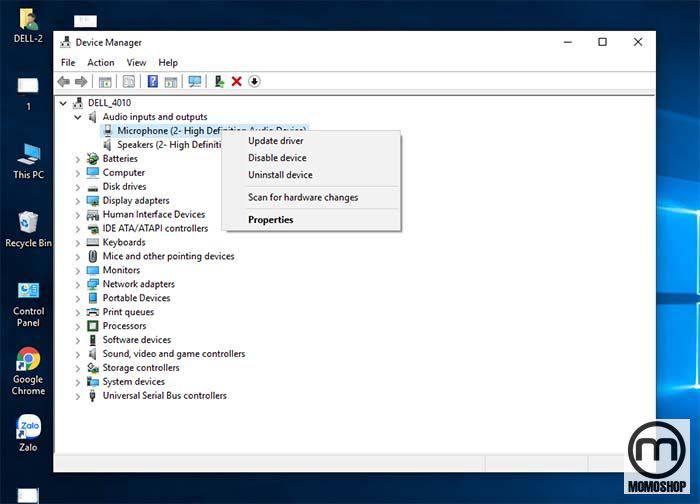 Trong cửa sổ Device Manager, mở rộng cây đầu vào và đầu ra âm thanh.