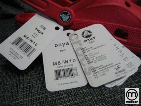 Kệ Crocs thực tế luôn có một số nhãn chứa tất cả các thông tin cần thiết về kích thước, chất liệu, tên model, v.v.