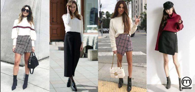 Mix quần giả váy với áo len