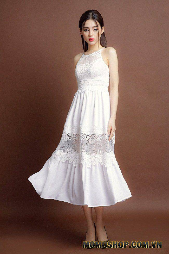 Váy cổ yếm nhẹ nhàng tinh tế