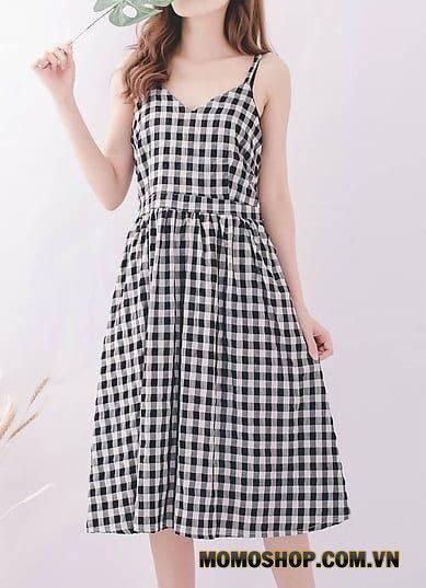 Váy hai tay to bản đơn giản nhẹ nhàng