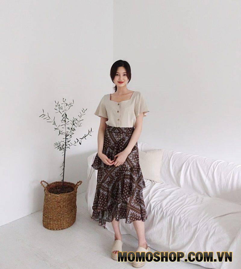 Chân váy xếp tầng họa tiết - Đa dạng màu sắc dễ phối đồ