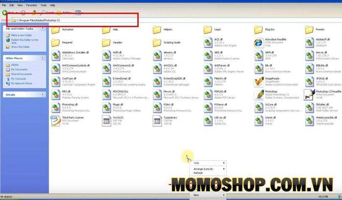 Win 7 trở lên:(C:\Program Files (x68)\Adobe\Photoshop CS)