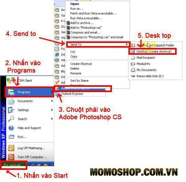 Đưa icon Photoshop CS (8.0) ra ngoài Desktop