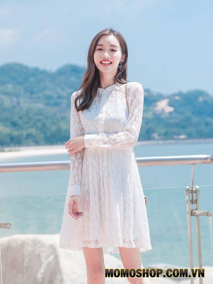 Đầm ren trắng nguyên sơ, trong sáng