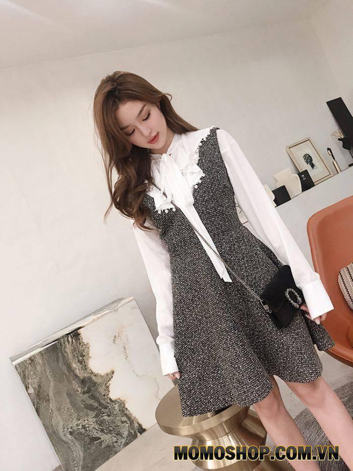 Váy dạ hội Tweed sang trọng, thanh lịch