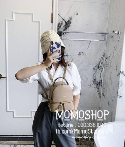 Balo mini nữ Hàn Quốc 2 trong 1 mini200 nâu