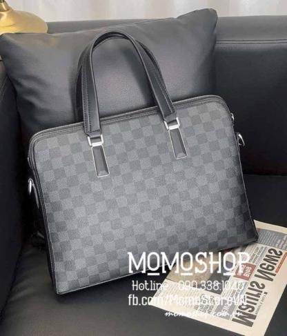 Túi xách laptop da sọc ca rô bn736 đen