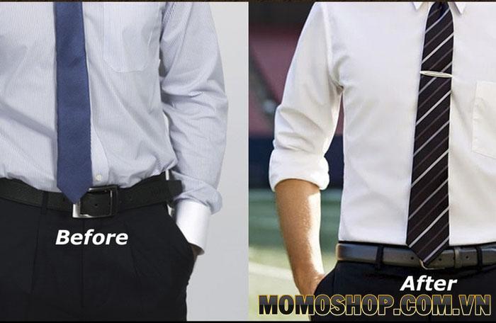 Sơ vin áo sơ mi nam trước và sau thắt lưng da cao cấp hàng hiệu