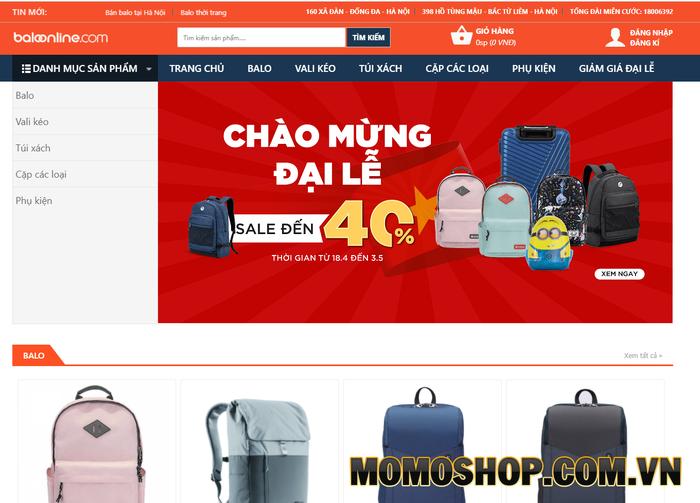 Shop Baloonline.com - Nơi mua sắm balo laptop giá rẻ cho học sinh