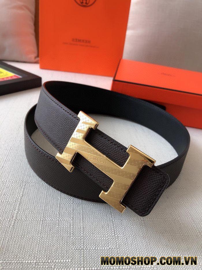 Thắt lưng nam mặt khóa vàng Hermes