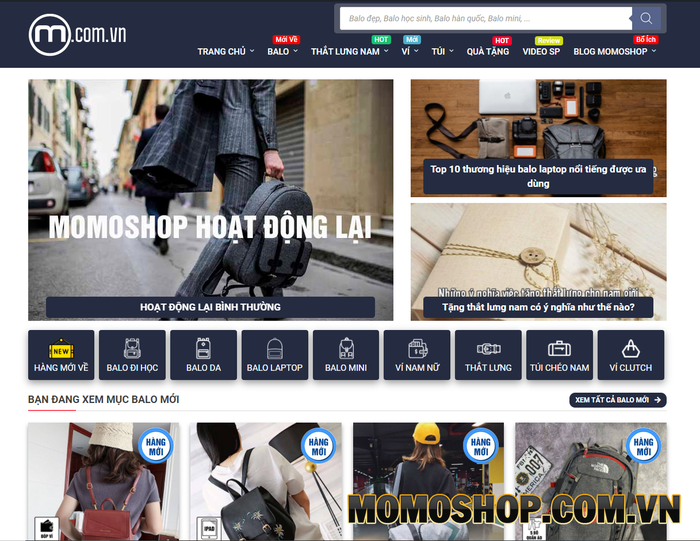 Momoshop.com.vn - Balo đẹp & thắt lưng nam, túi đeo chéo