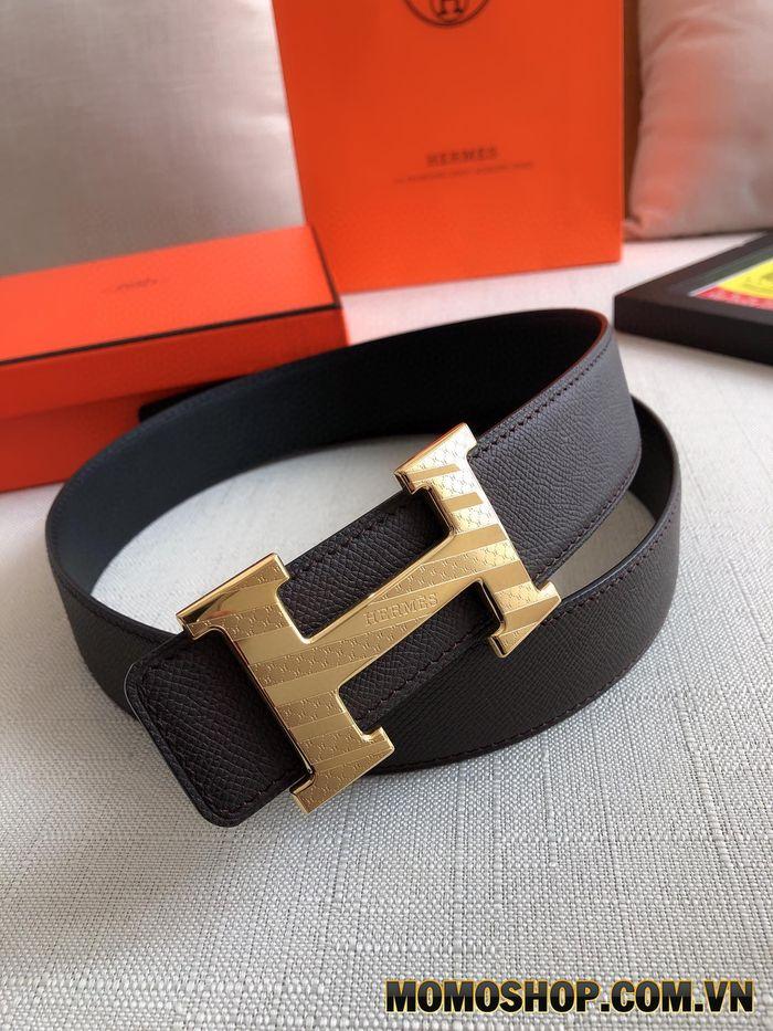 Thắt lưng nam Hermes mặt khóa vàng