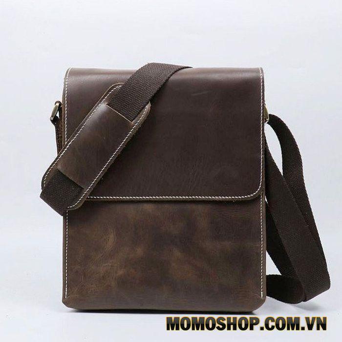 Túi đeo chéo da bò nam dáng dọc nhiều ngăn - 1565450