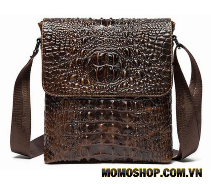 Túi đeo chéo da bò dập nổi vân cá sấu