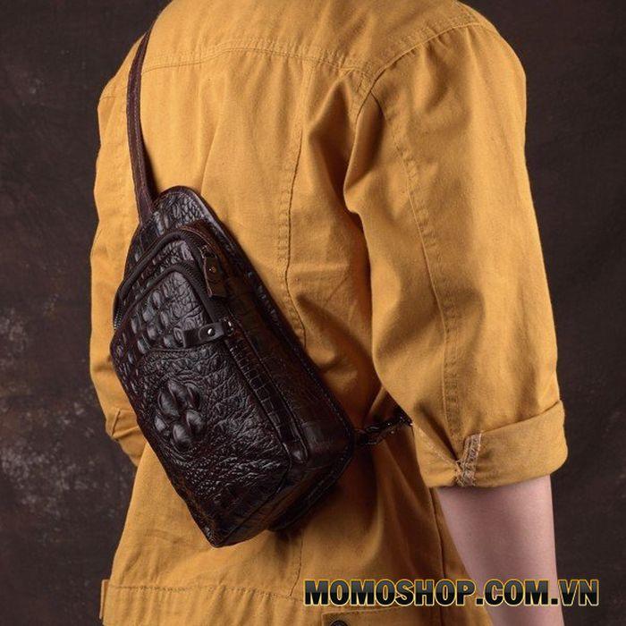 Túi đeo chéo lưng da bò vân cá sấu cá tính