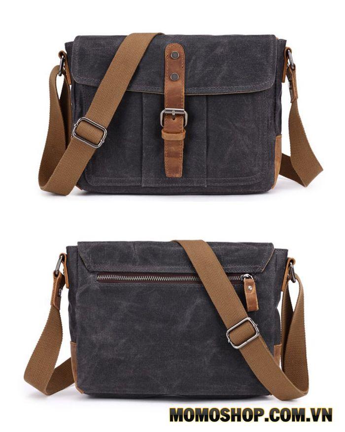 Túi đeo chéo da sáp nhiều ngăn messenger canvas vintage Kích thước: 27cm x 20cm x 8cm.