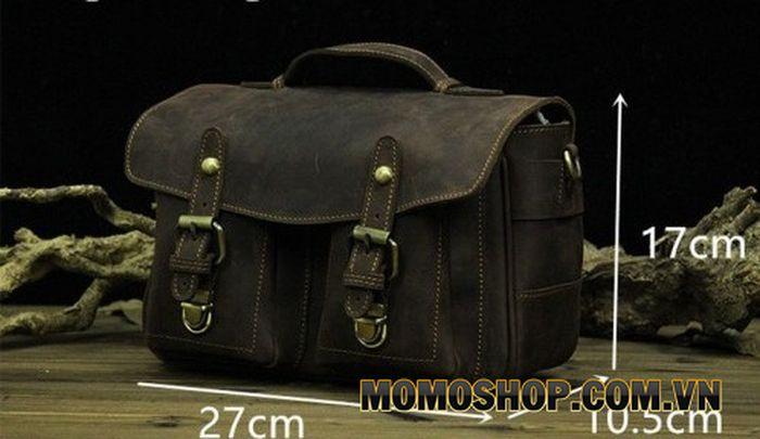 Túi đeo chéo đựng máy ảnh da bò thô nguyên miếng