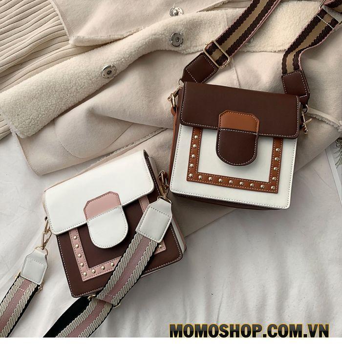 Túi đeo chéo dây kẻ bản to nữ vuông phối màu