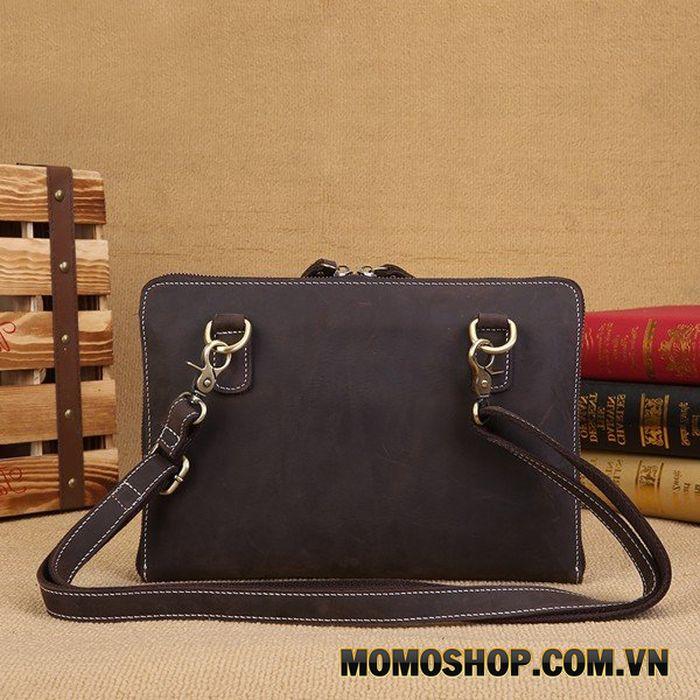 Túi đeo chéo kiêm clutch cầm tay nam da bò sáp cao cấp - 1022836
