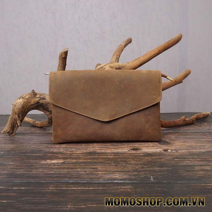 Túi đeo chéo kiêm clutch cầm tay nam da bò mềm cao cấp - 240720