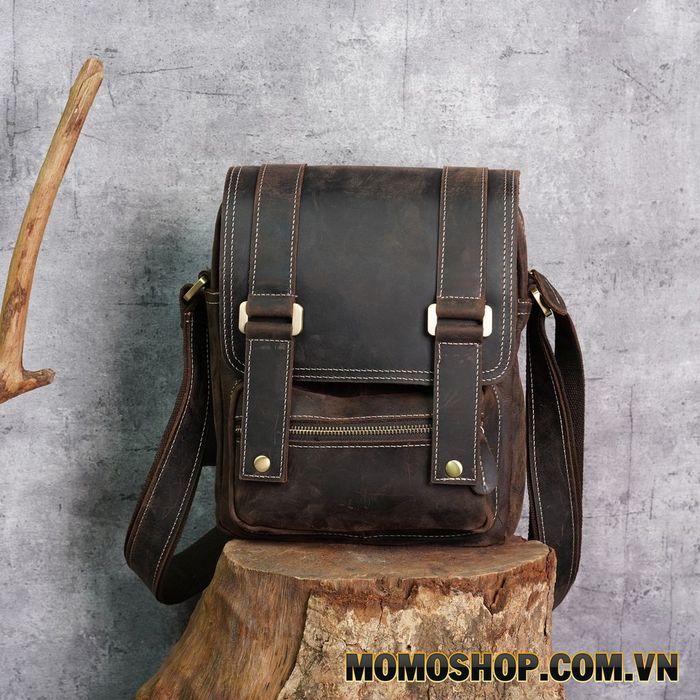 Túi đeo chéo da sáp đựng Ipad nhiều ngăn