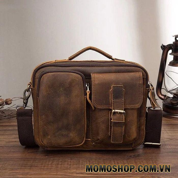 Túi đeo chéo nam da bò sáp dáng ngang đa năng – MR1050