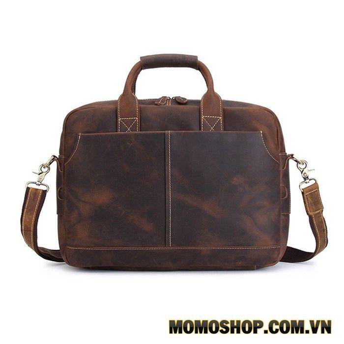 Túi xách da bò sáp đựng vừa laptop 15.6 inch siêu bền
