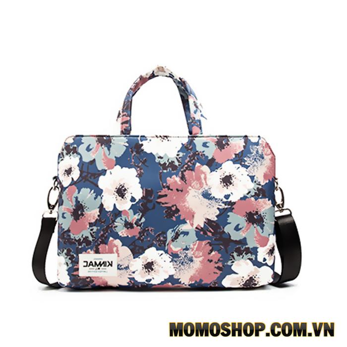 Túi xách vải laptop KinMac Pink Blue Rose Blue KM045