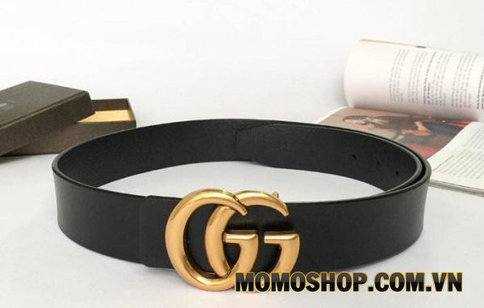 Thắt lưng bản to cho nữ Gucci Leather Belt With Double G Buckle 4cm