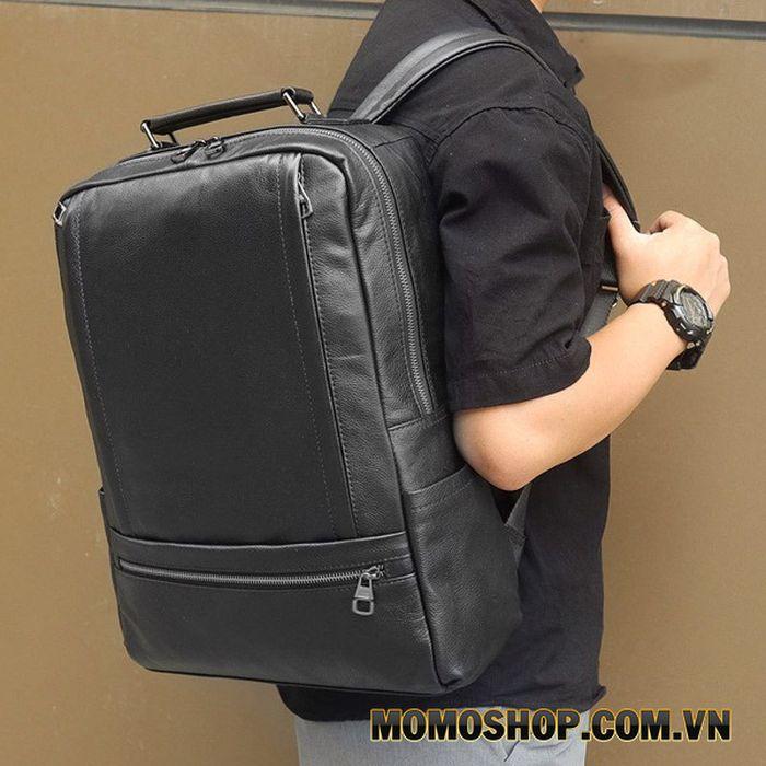 Balo laptop da bò cỡ lớn kiểu dáng đơn giản