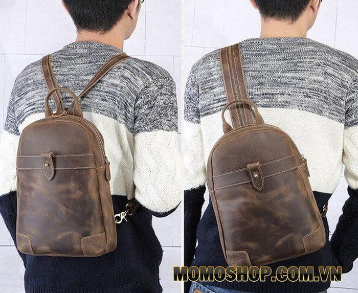 Balo laptop da bò sáp kết hợp túi đeo chéo tiện ích
