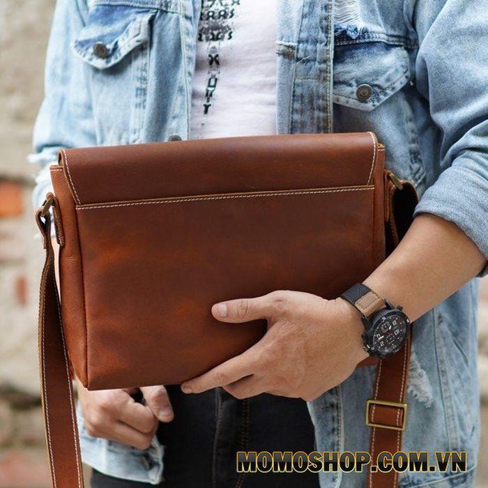 Túi đeo chéo da sáp đơn giản đựng Ipad Air